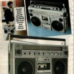 '80s boom boxes with radio and cassette players and recorders