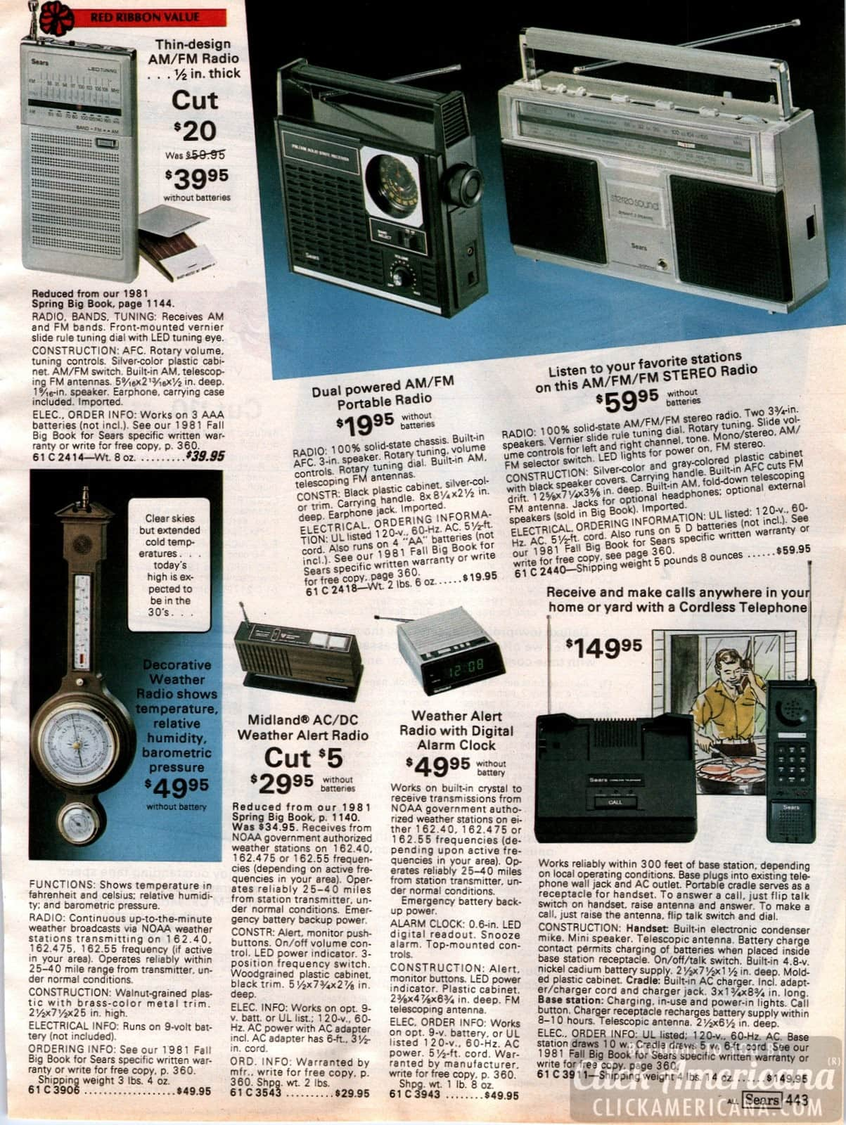 Portable radios and stereo radios - plus a new cordless telephone