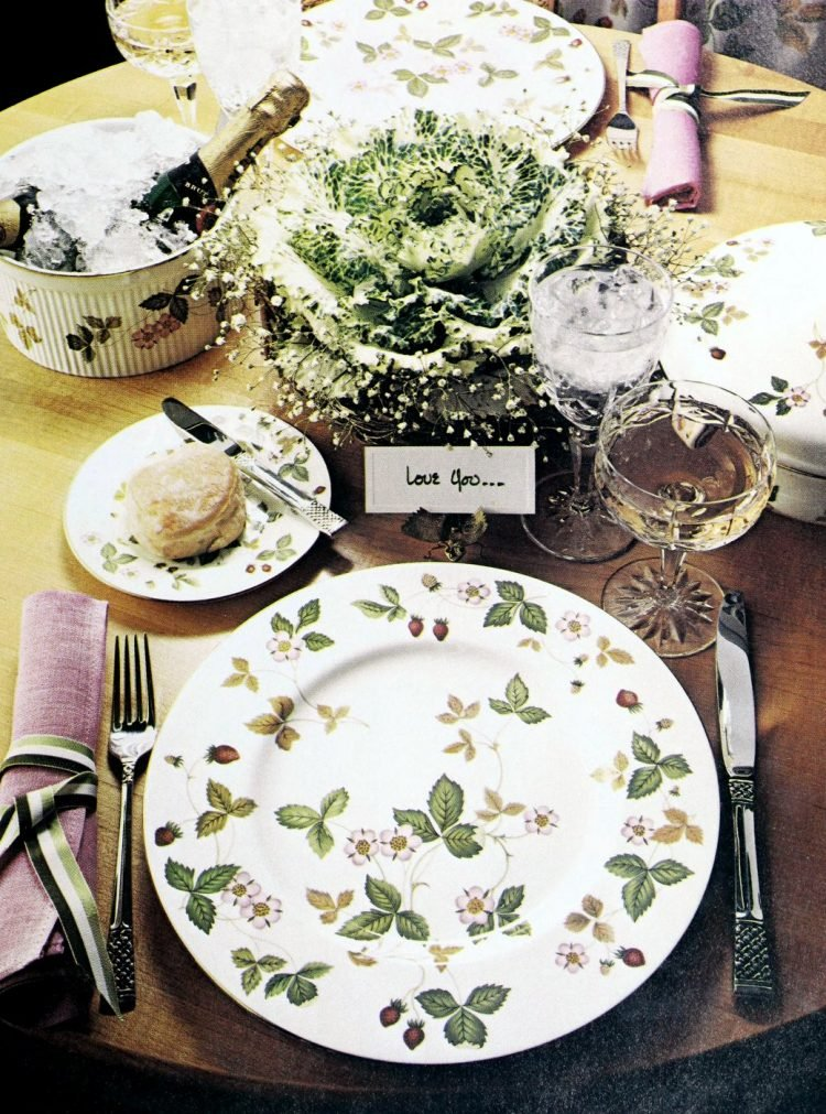 Elegant Wedgwood dishes and table setting from 1978
