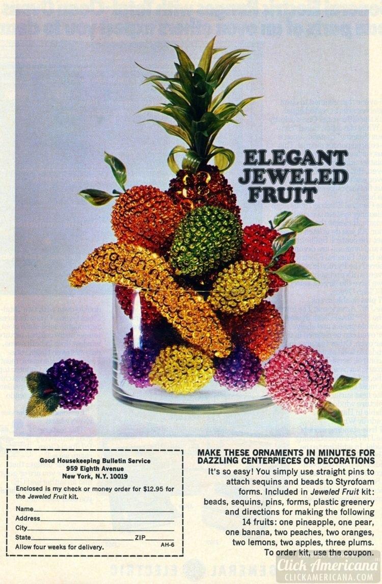 Elegant jeweled fruit craft project