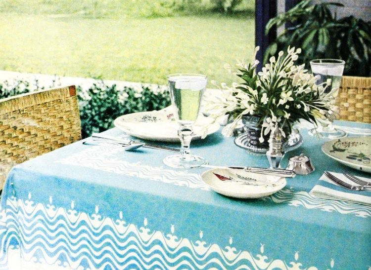 Elegant outdoor table setup from the 50s