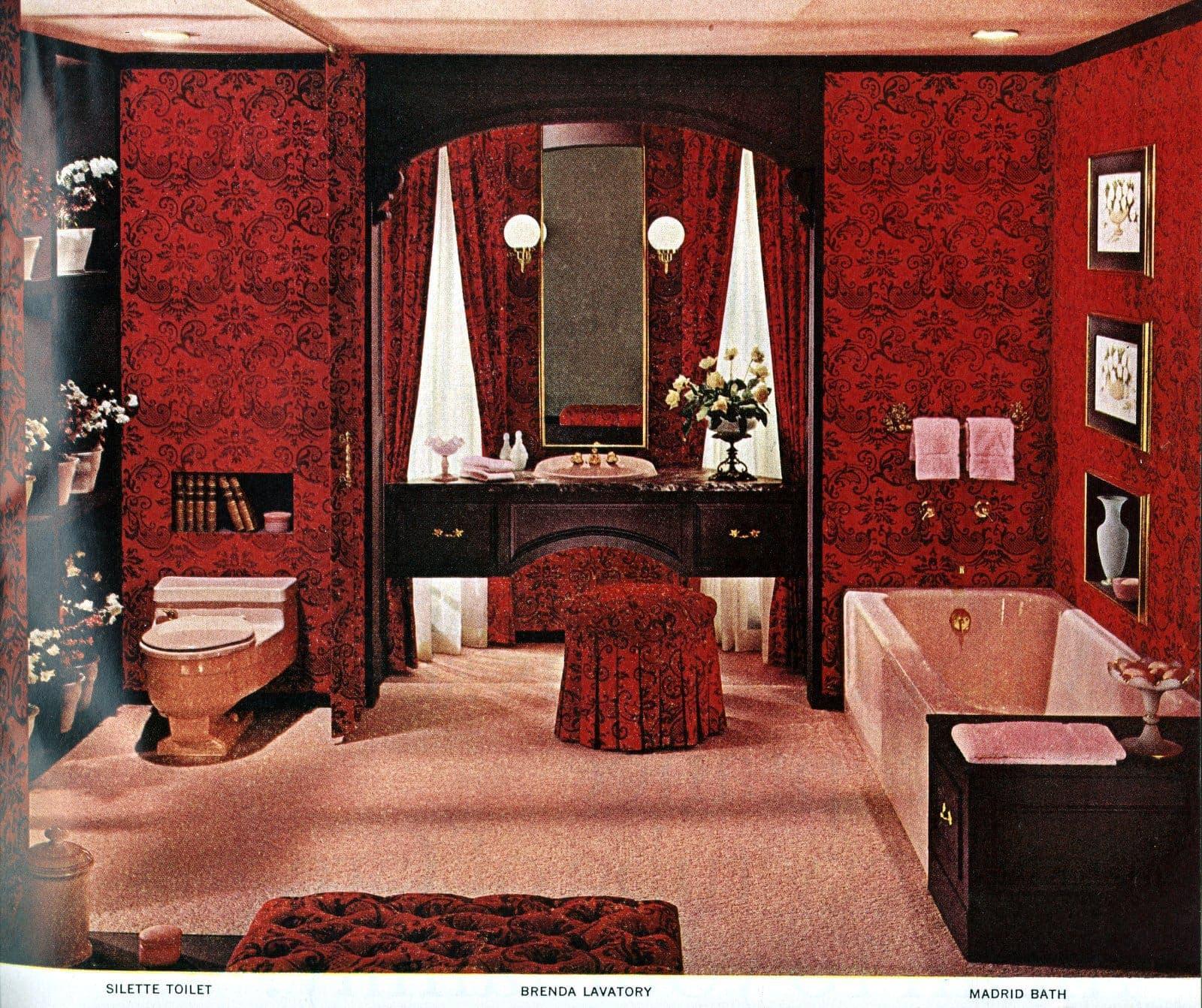 Elegant red bathroom with rich fabric walls drapes