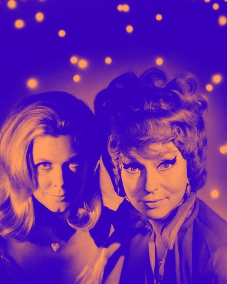 Elizabeth Montgomery and Agnes Moorehead in Bewitched TV show