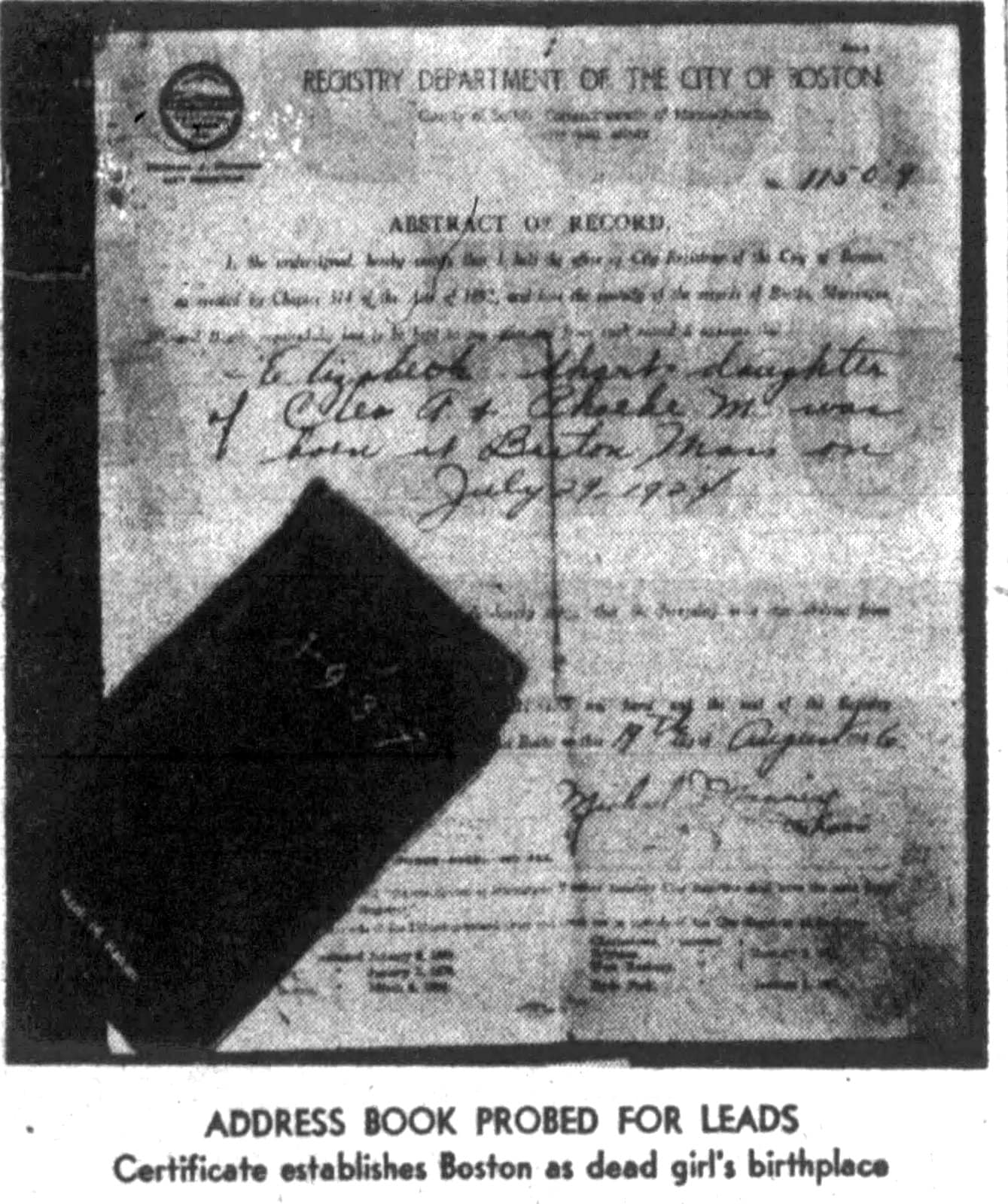 Elizabeth Short birth certificate