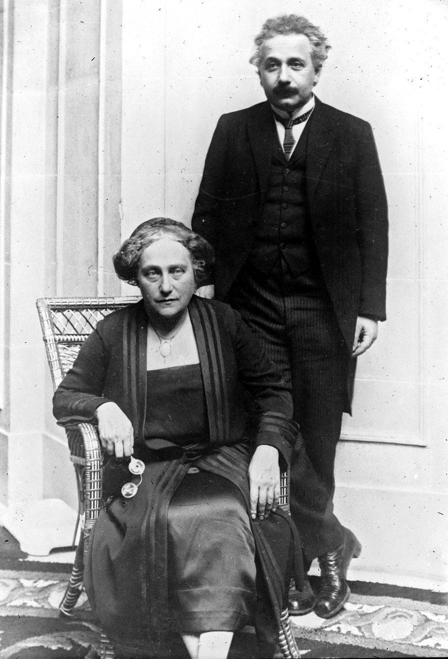 Elsa and Albert Einstein in 1923
