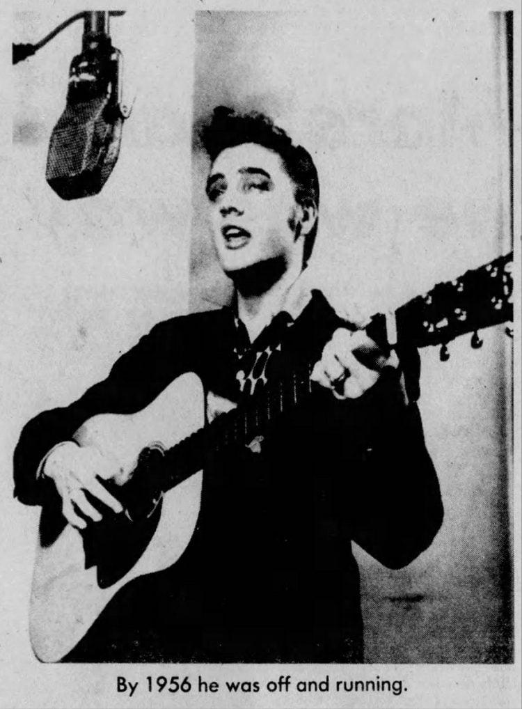 Elvis Presley recording in 1956