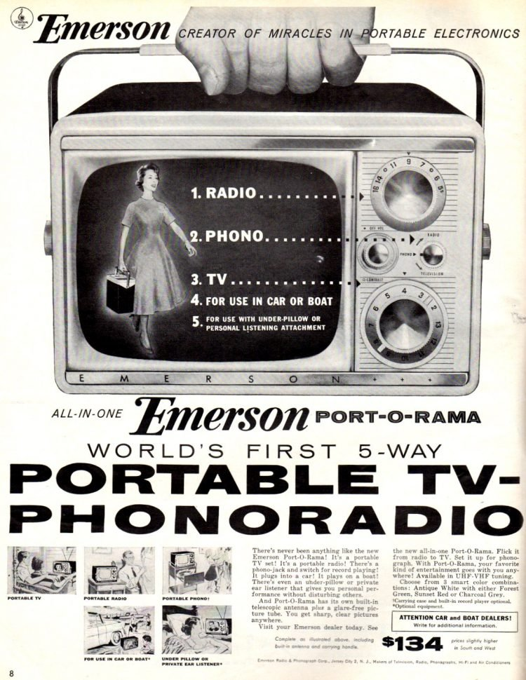 Emerson Portable TV-Phonoradio from 1956