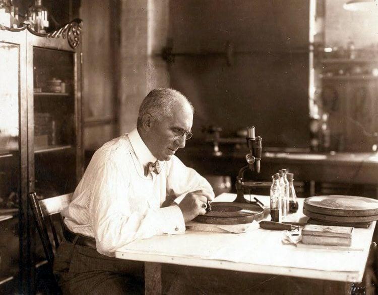 Emile Berliner in laboratory working on gramophone disc