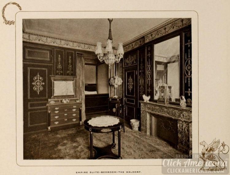 Empire Suite - bedroom - Waldorf Hotel - 1903