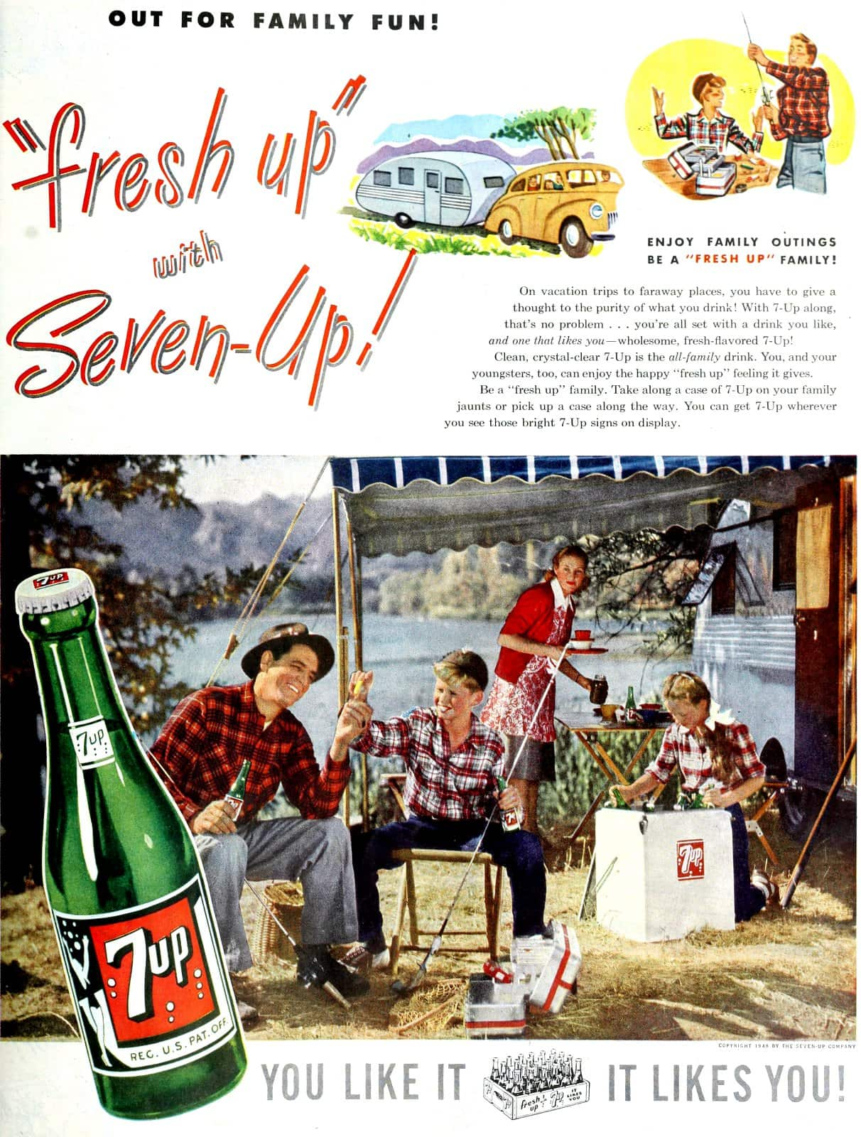 Enjoy family outings with 7UP - Be a fresh up family! (1948 )