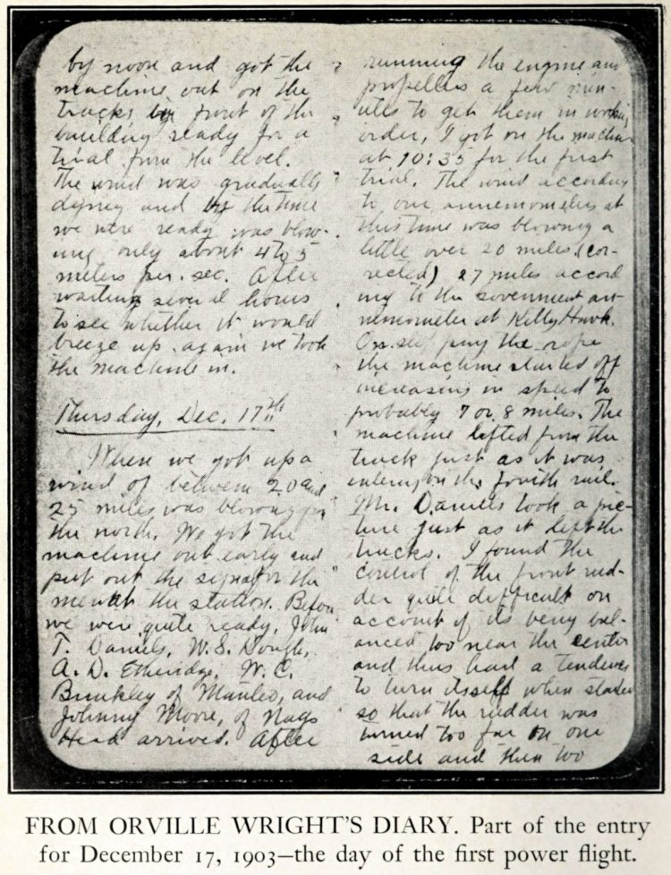 Entry from December 17 1903 - Orville Wright's diary