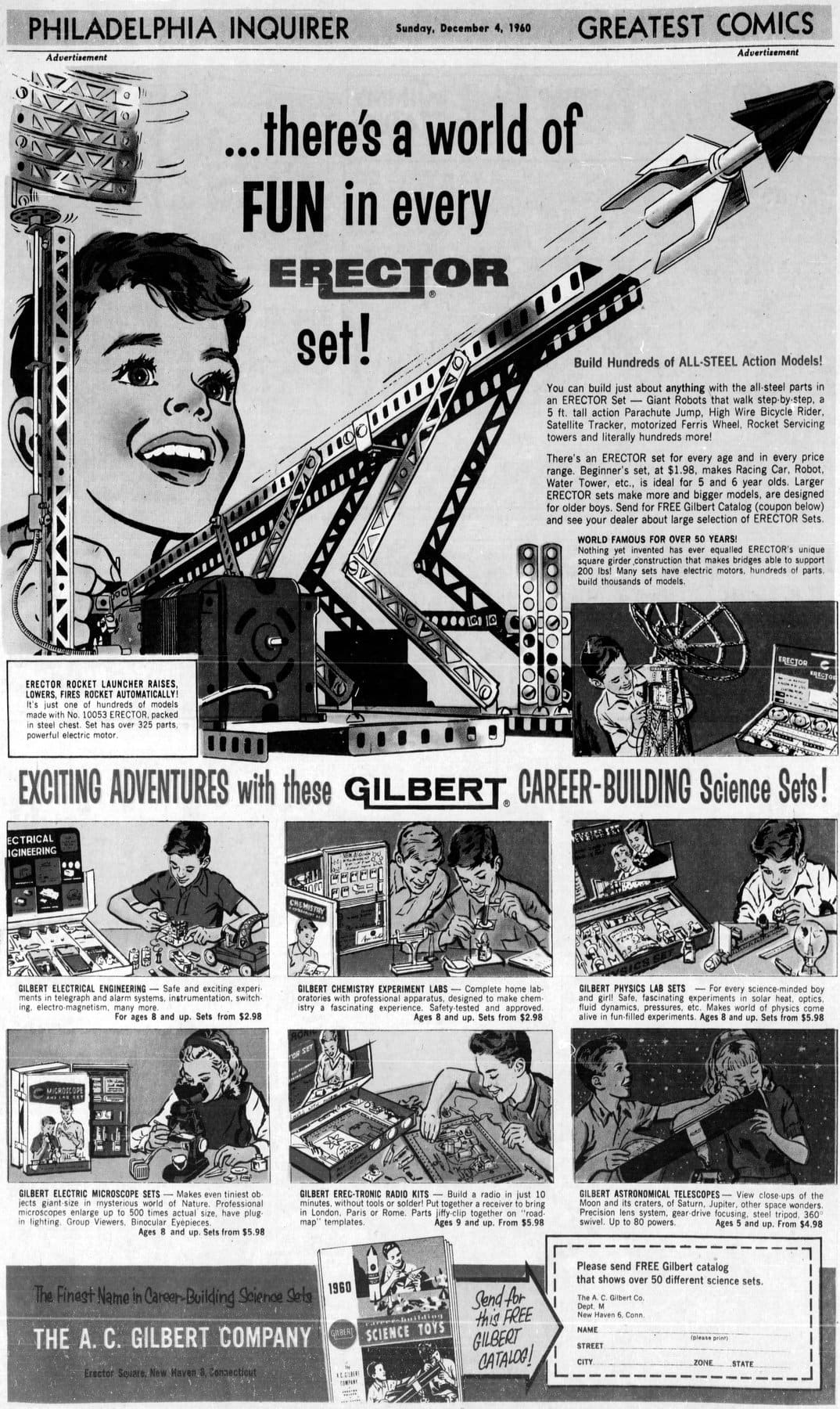 Erector Set in the comics section of the newspaper (1960)