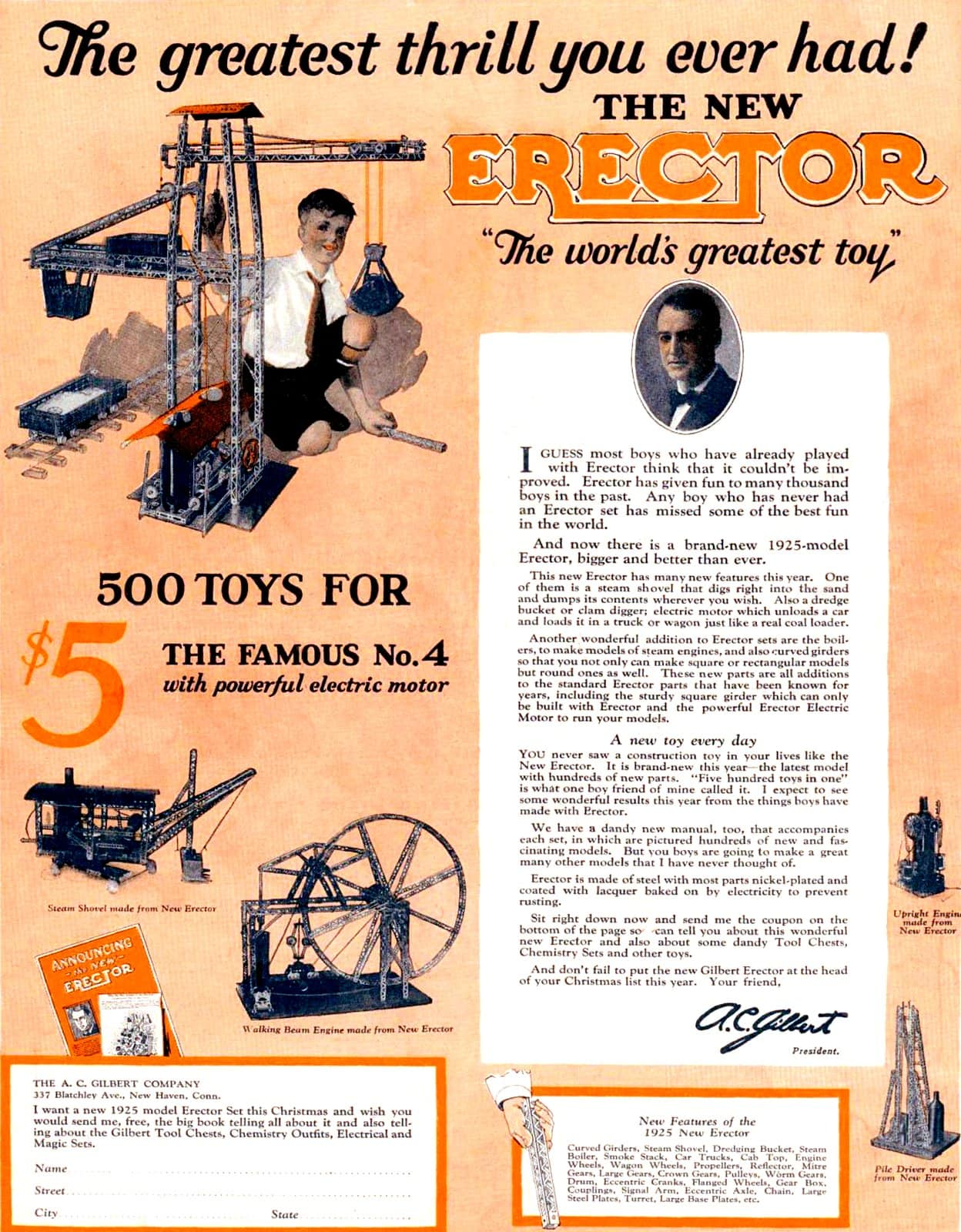Erector set toy from 1924-1925
