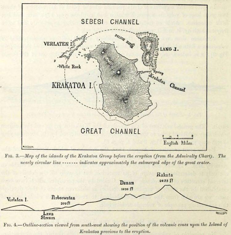 Eruption of Krakatoa volcano in 1883