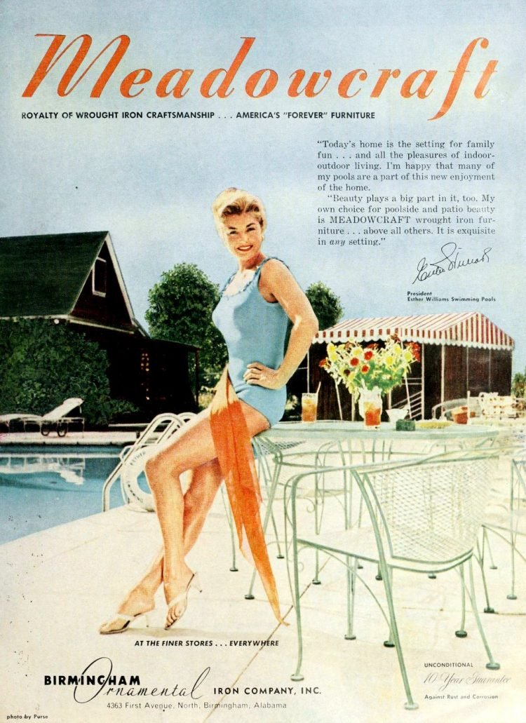 Esther Williams for Meadowcraft patio furniture - 1960