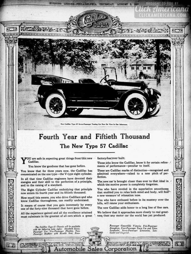 Evening public ledger., August 02, 1917 PA - Vintage Cadillacs