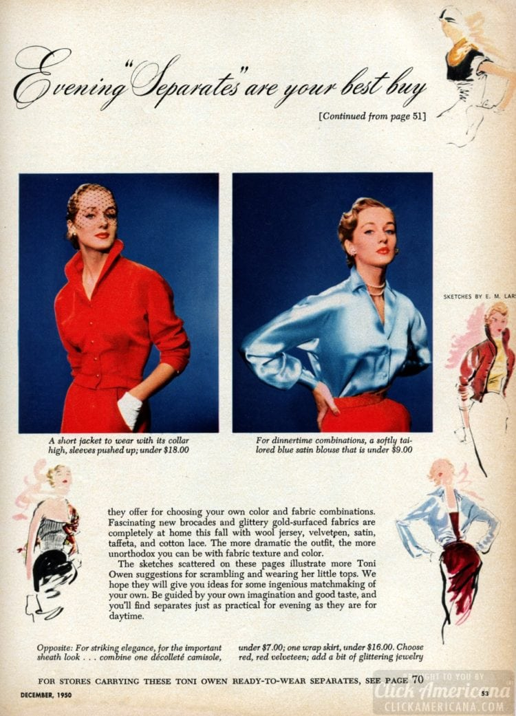 1950s eveningwear for women: Separates clothing