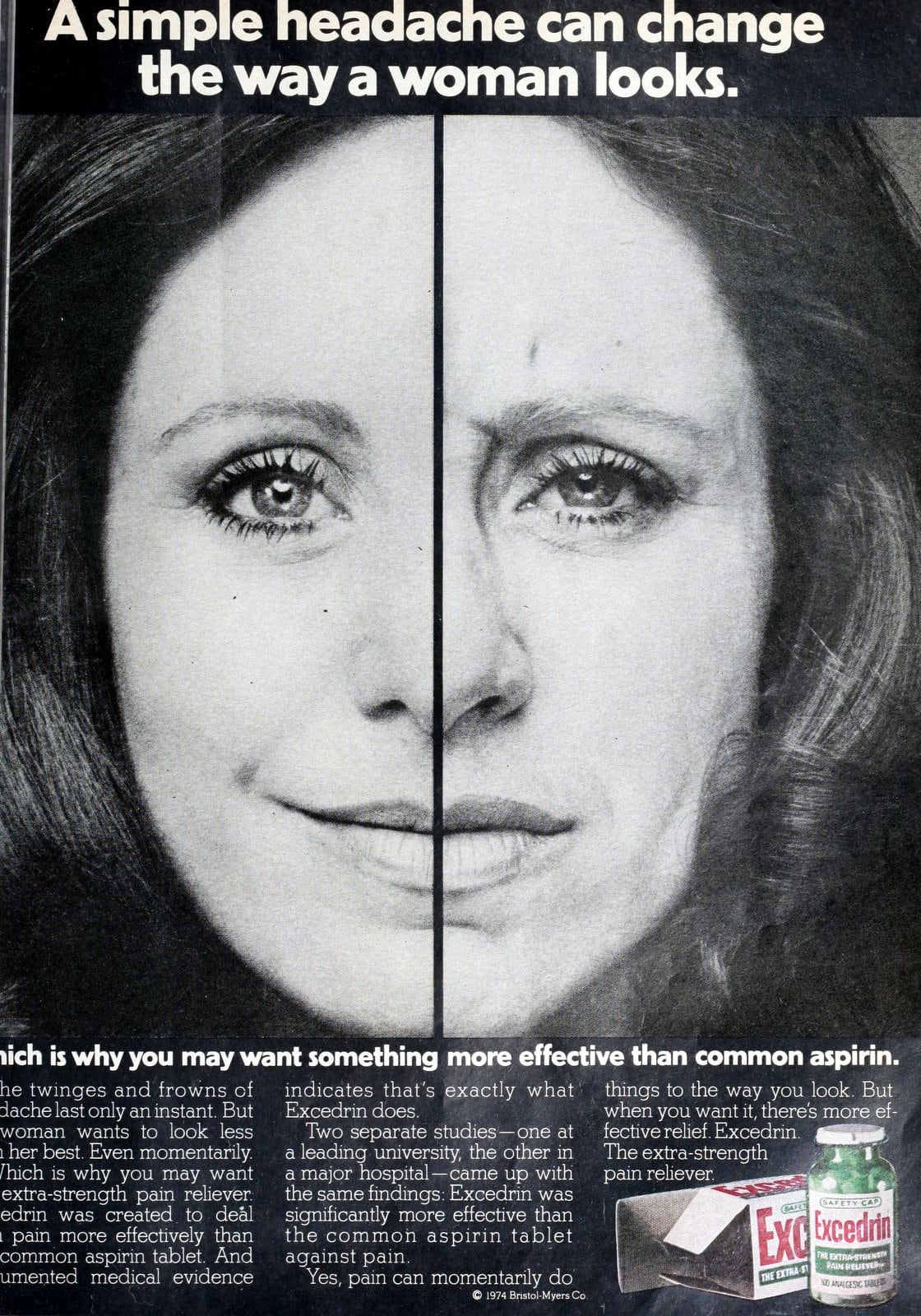 Excedrin headache medicine - Change the way a woman looks (1974)