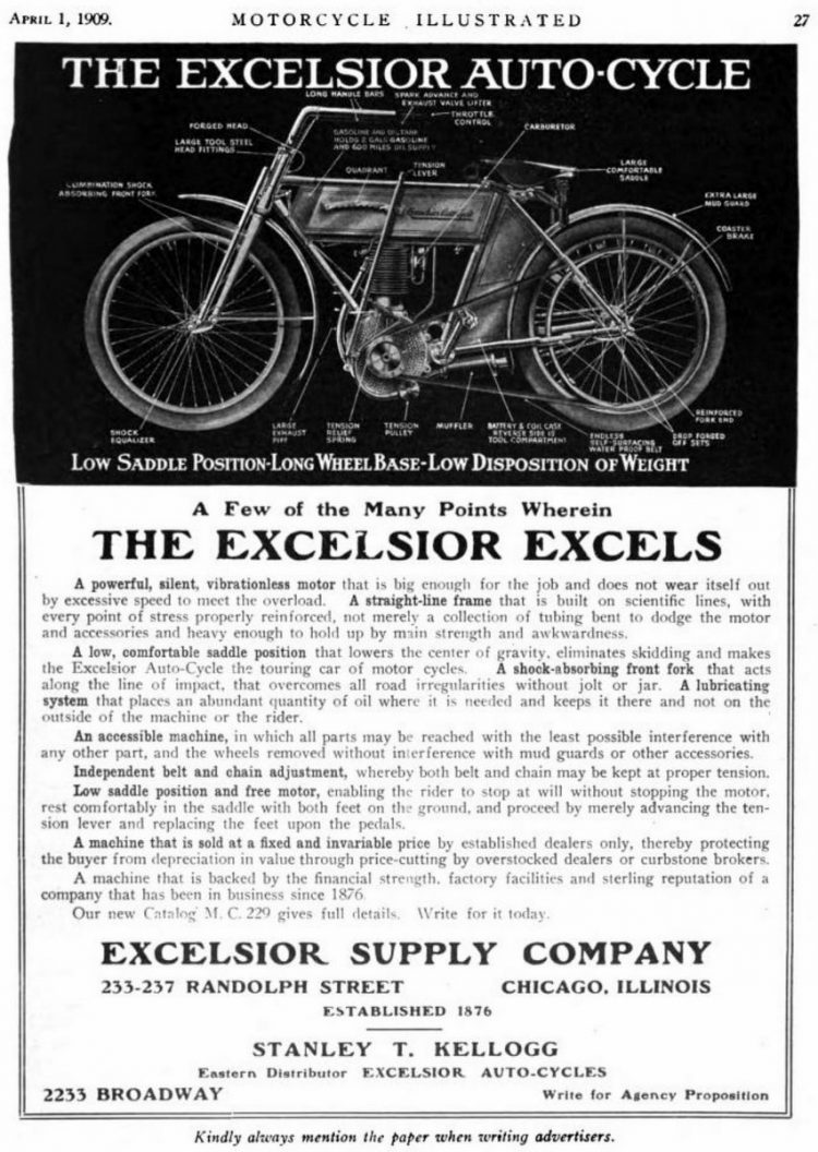 Excelsior Excels Auto-Cycles from 1909