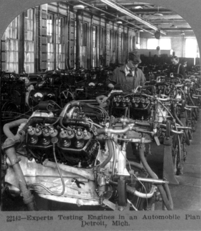 Experts testing engines in an automobile plant, Detroit, Mich.