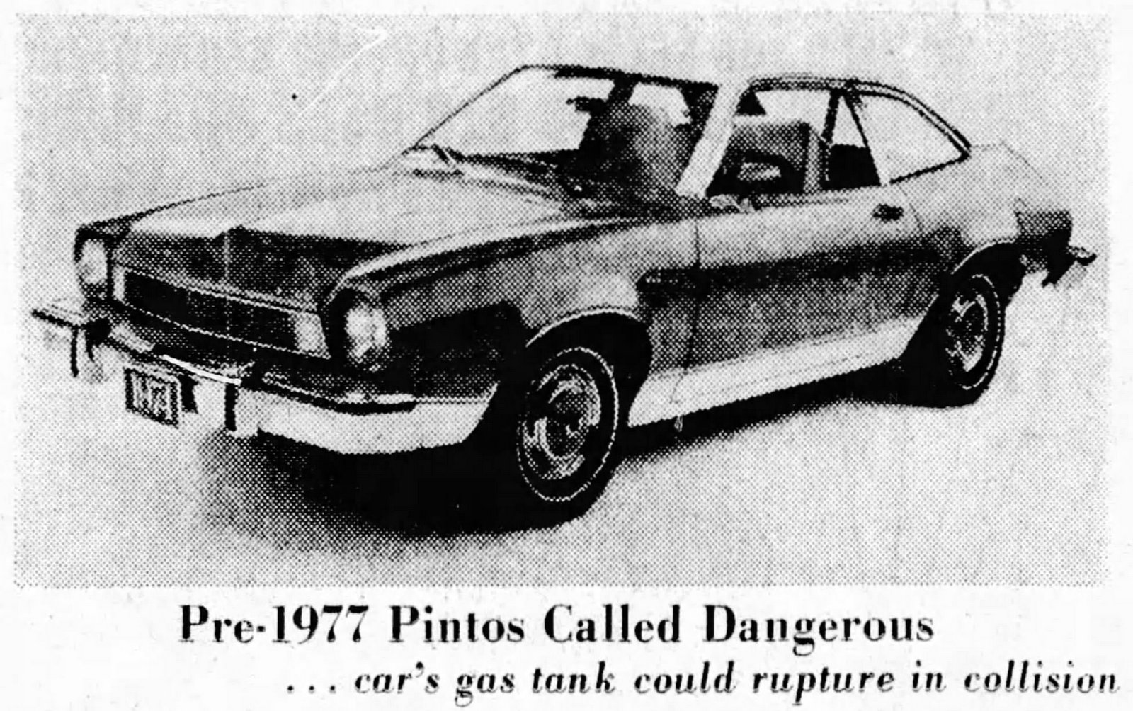 Explosive charges about the Pinto cars 1977