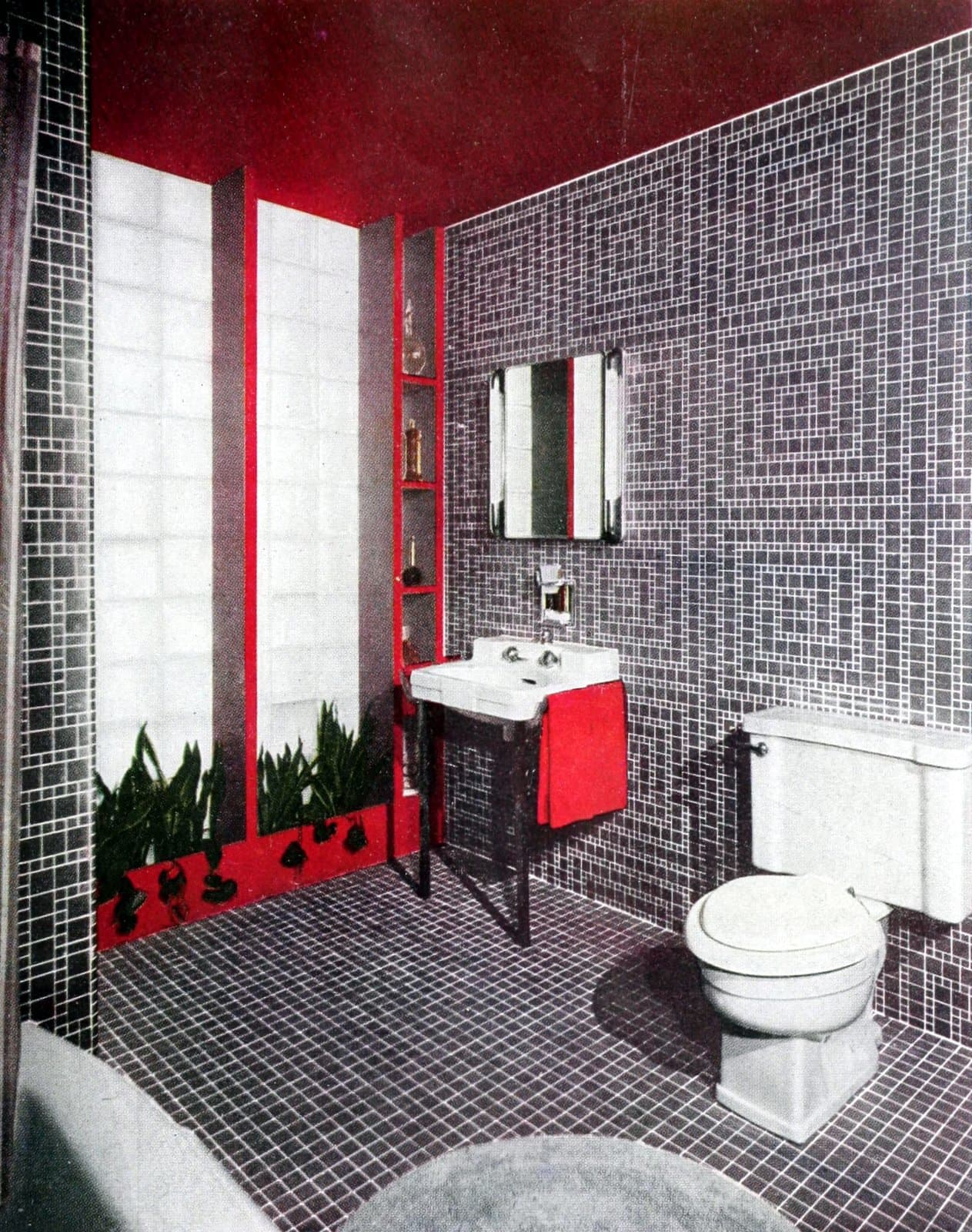 Eye-popping red and black sintage bathroom tile design ideas
