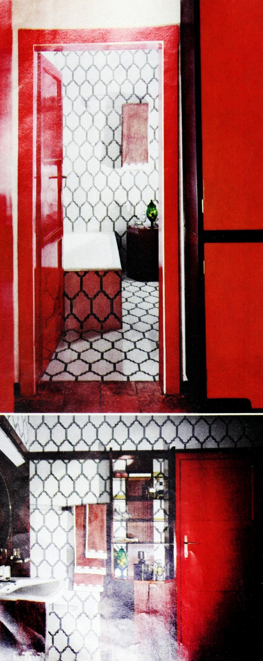 Eye-popping red and black vintage bathroom tile design ideas
