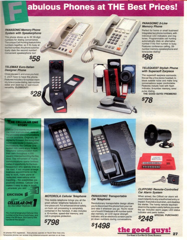 Fabulous phones at THE best prices 1987 vintage catalog ad