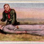 Fainting spell with boy scout - Antique card