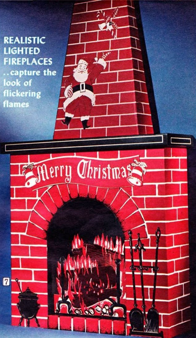 Fake fireplace in 1968 Sears Wish Book Christmas catalog