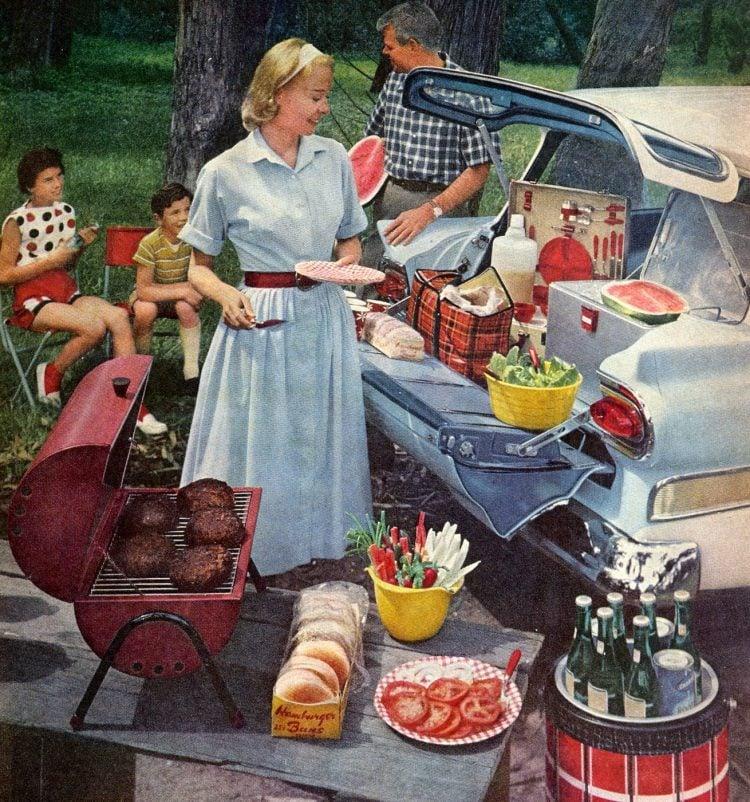 Family picnic bbq 1959 food