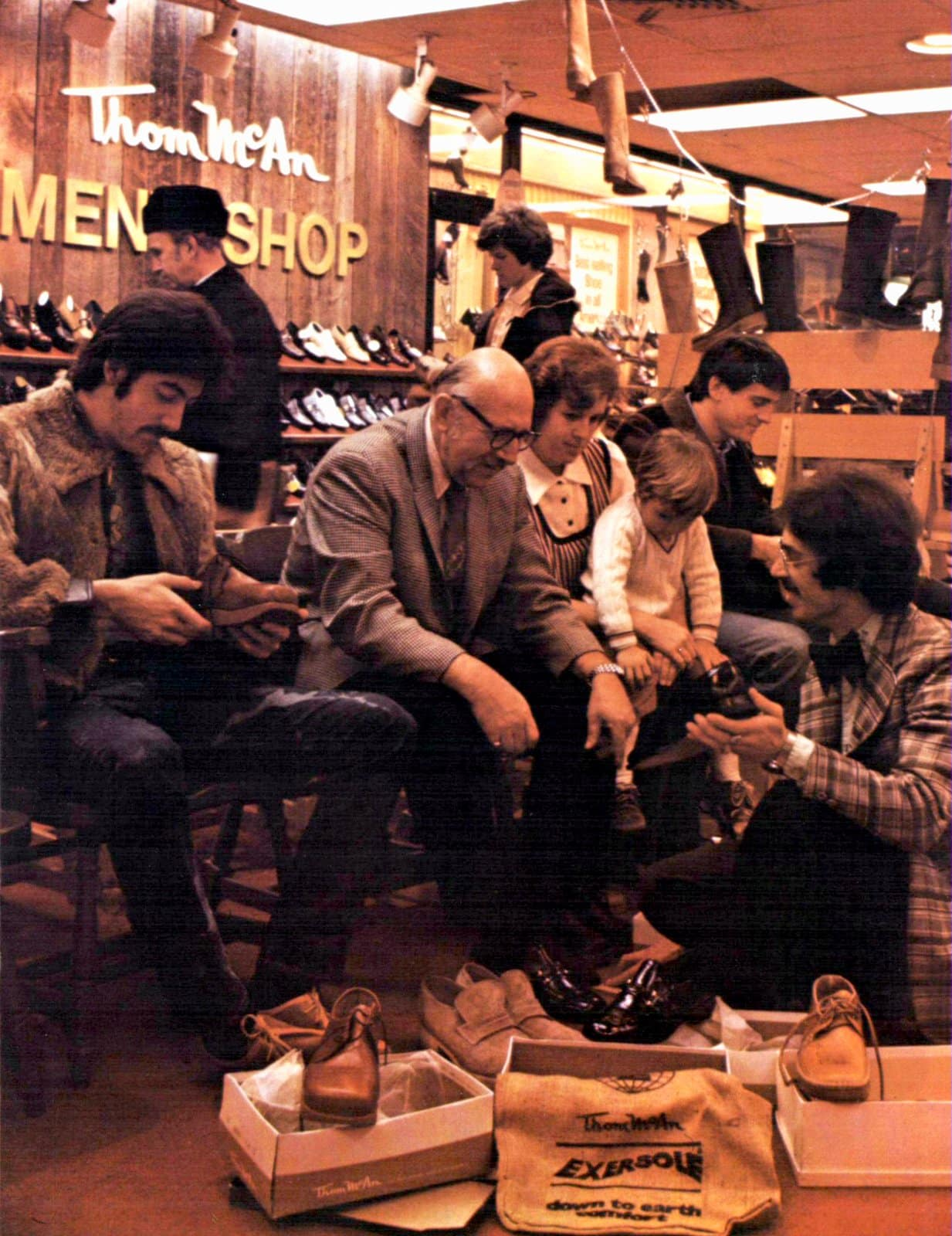 Family shopping for shoes (1974)
