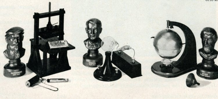 Famous inventor and invention replicas (2) - Vintage 60s science kits for kids