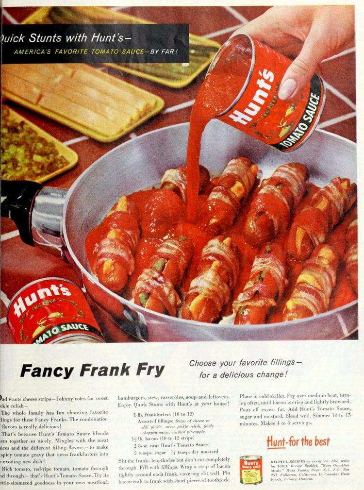 Fancy frank fry - Hot dog recipe from 1959