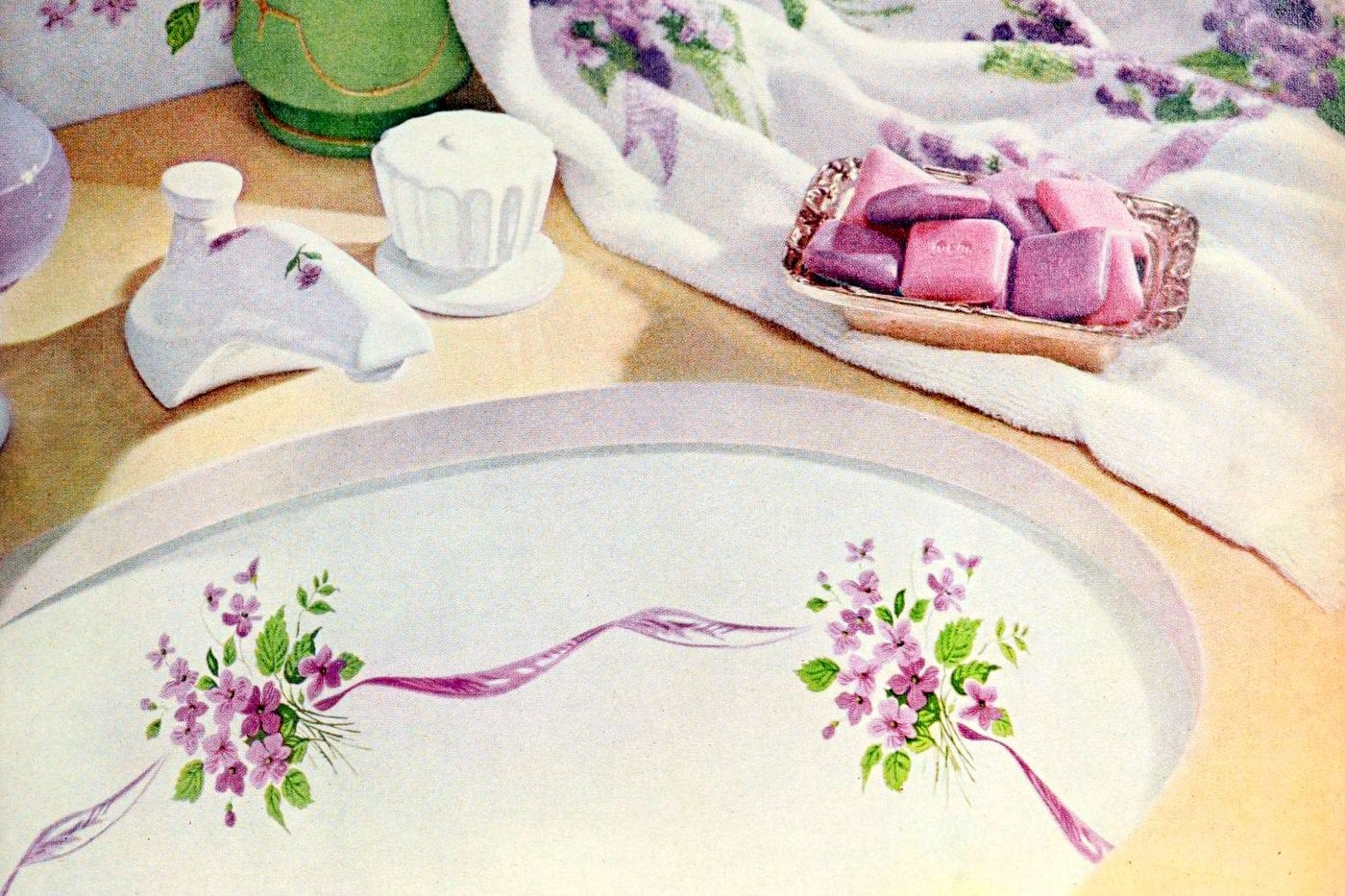 Fancy painted decorated bathroom sinks like these were popular in the 60s