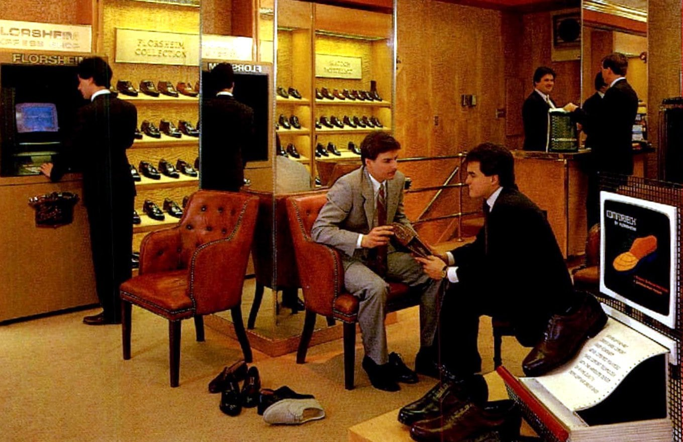Fancy tech at a Florsheim shoe store (1986)