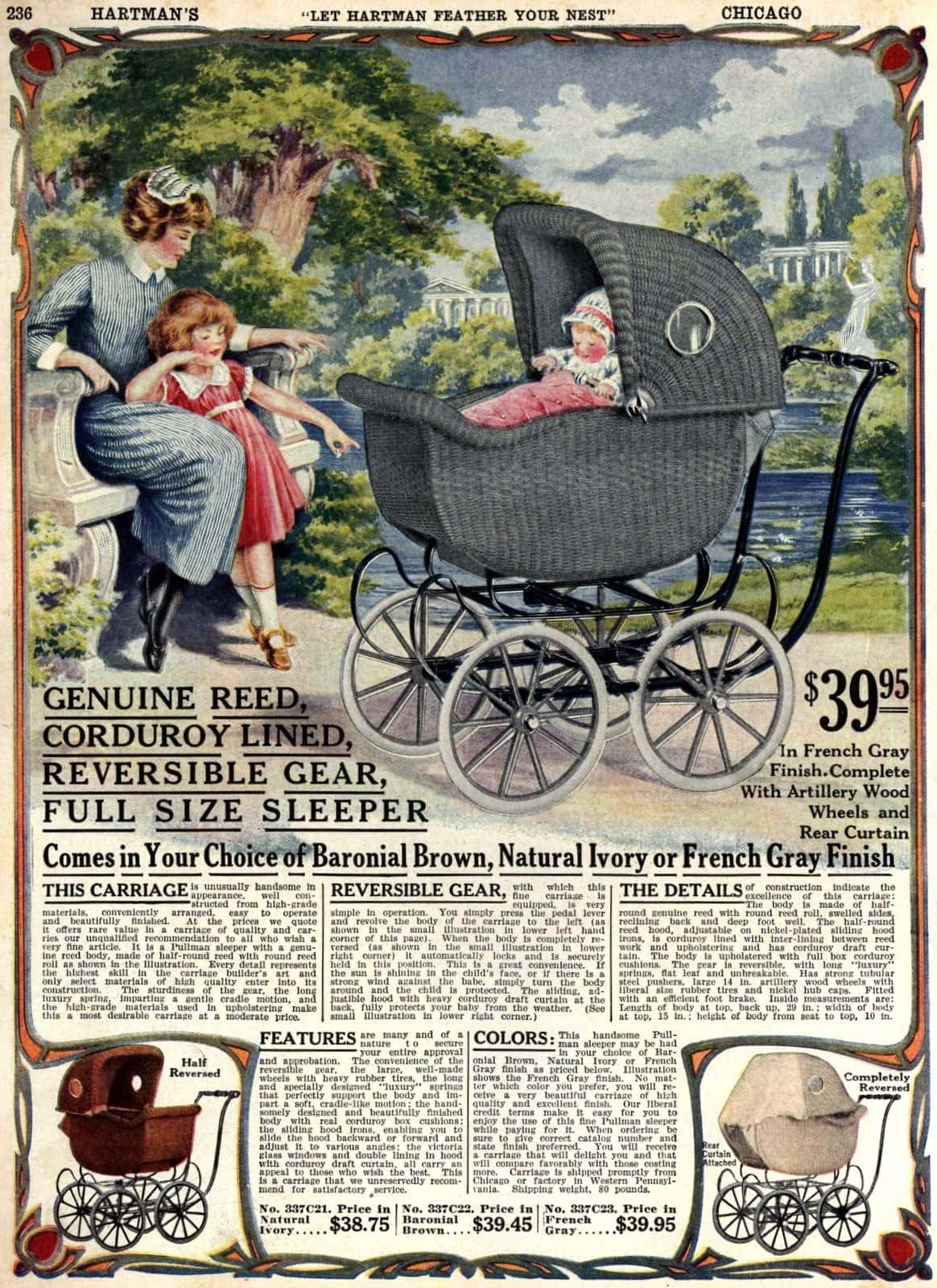 Fancy vintage baby carriage (1922)