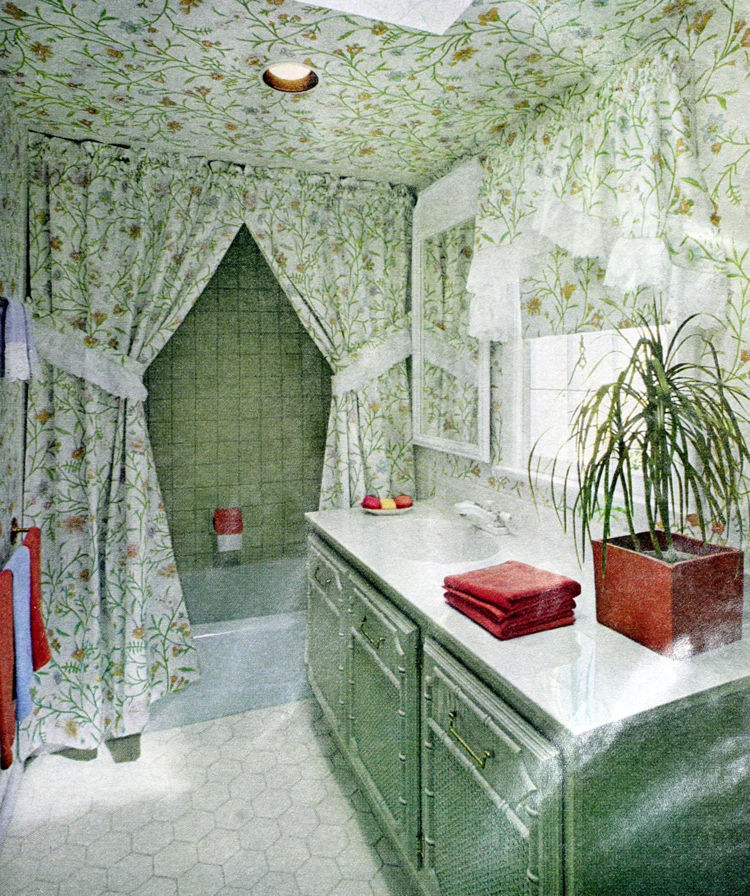 Farmhouse green bathroom decor (1980)