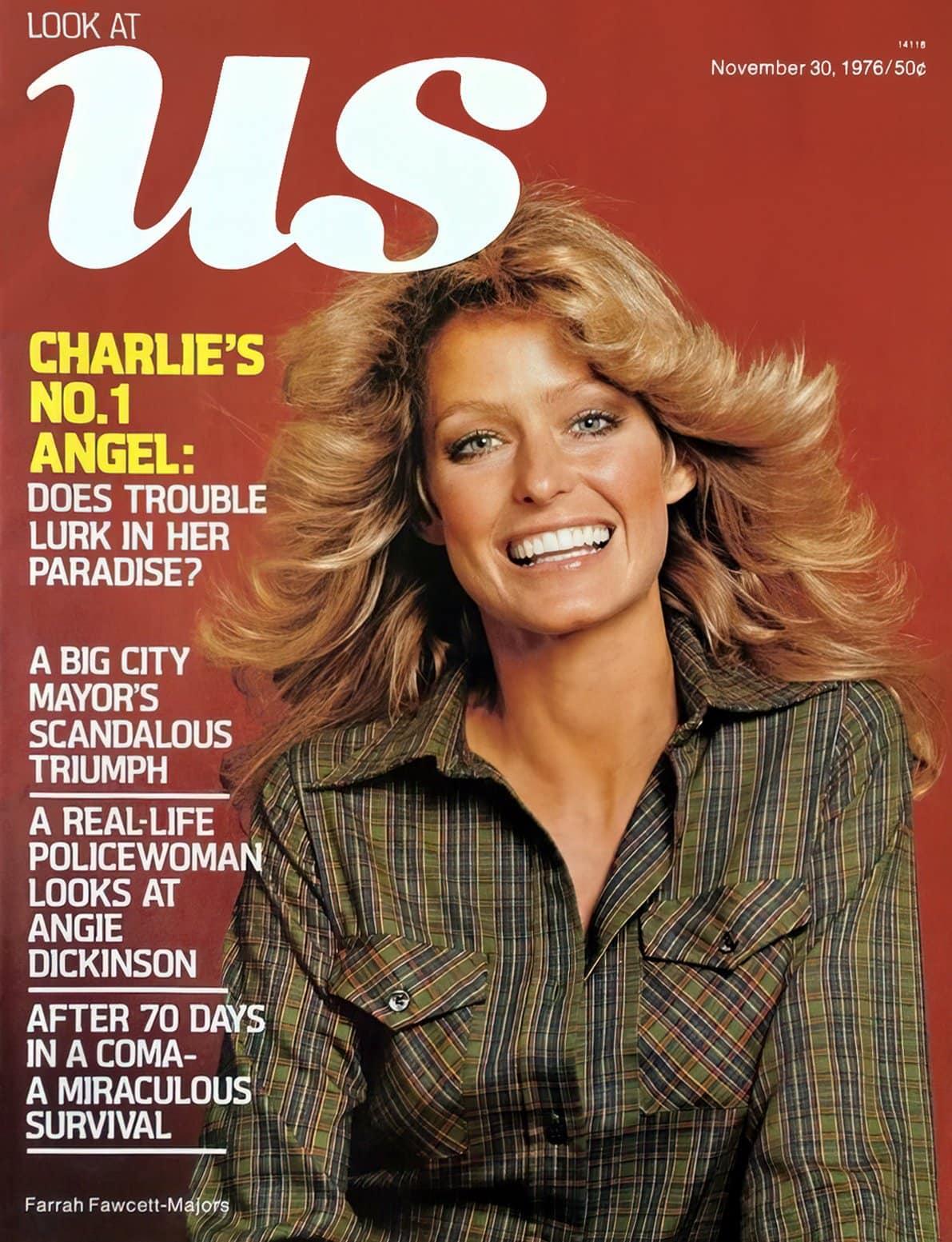 Farrah Fawcett-Majors on cover of Us magazine (1976)