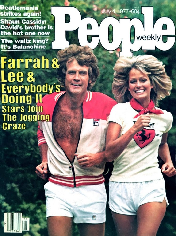 Farrah Fawcett and Lee Majors on People magazine cover jogging 1977