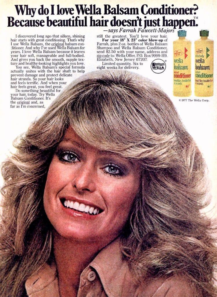 farrah fawcett hairstyle for wella balsam 1977
