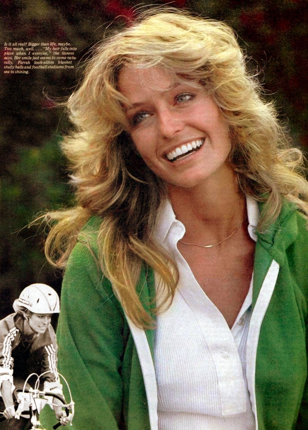 Farrah Fawcett's famous long feathered hairstyle 1977