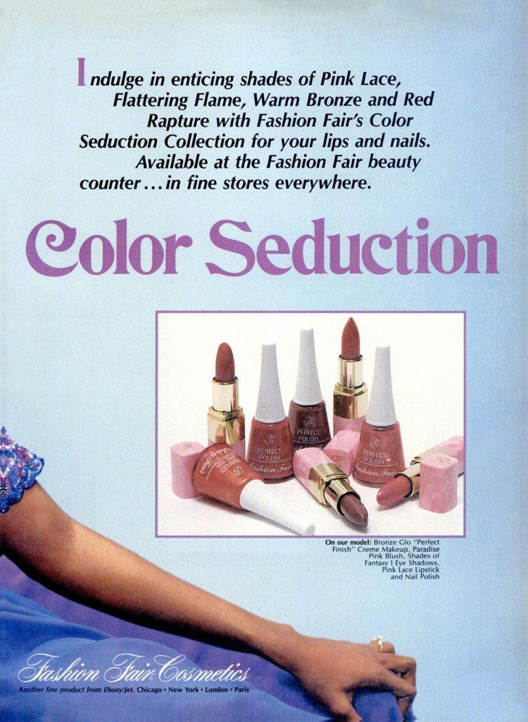 Fashion Fair Color Seduction nail polish and makeup (1989)