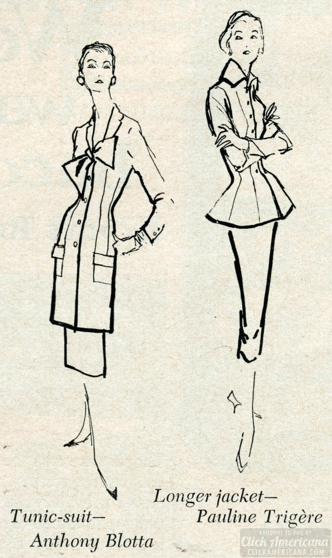Fashion designs for women October 1955