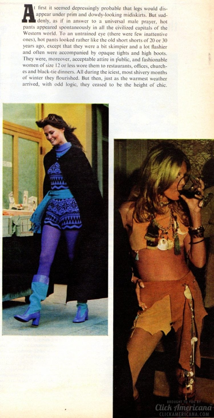 Fashion fad of the seventies Hot pants (1971)