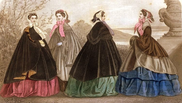 Elegant antique dresses from November 1859, from antique fashion magazines