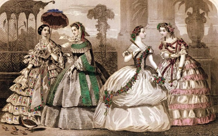 Vintage steel fashion plate with evening gowns & visiting dresses for August 1859