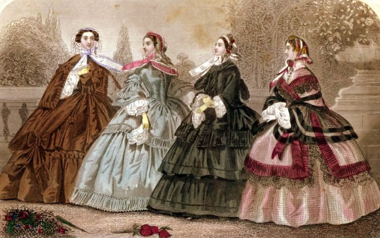 Elegant Victorian dresses from September 1859, in color
