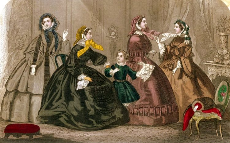 Fashion history: Walking, carriage & dinner dress styles from October 1859