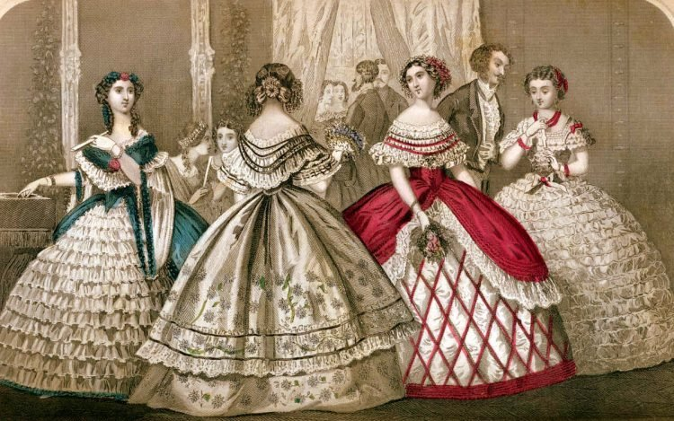 Fashion history Elegant antique dresses from each month of 1859, in color (2)